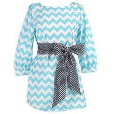 Ladies Aqua Chevron Gray Dot Sash Tunic