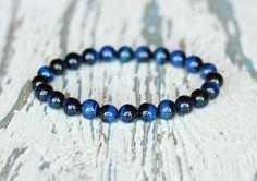 dark blue bracelet bohemian women beaded bracelet 8mm blue