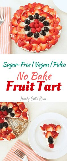 No Bake Fruit Tart (Gluten Free, Vegan, Sugar Free, Paleo)--- This is one of my favorite healthy desserts to make for parties or holidays!
