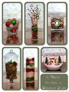 Six different ways to fill a vase this holiday season using a number of inexpensive items. Jingle bells, tree decorations, pinecones, cranberries, epsom salts and more!