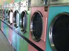 I own a laundromat and painted these dryers after seeing something similar on pinterest.
