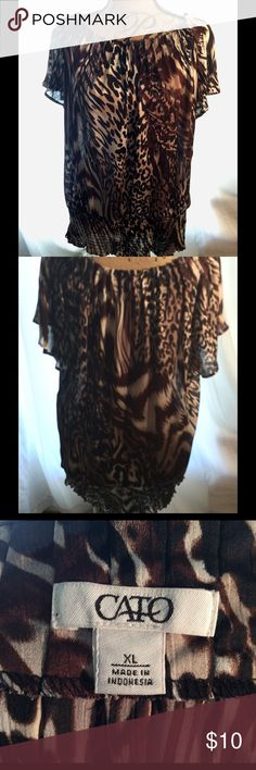 Animal Print Blouse Very nice blouse in chiffon animal print. Gently worn. Look fantastic with jeans, dress pants or a skirt! From Cato size XL. Cato Tops Blouses