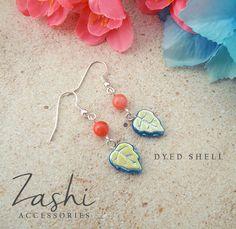 Salmon Shell and Capri Iridescent Leaf Earrings