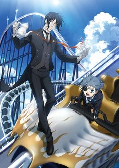"""""""Horror attractions of the anime Black Butler appeared in the Fuji-Q Highland Room"""". Black Butler Ciel, Black Butler Crossover, Black Butler Funny, Black Butler Sebastian, Black Butler Kuroshitsuji, Black Butler Wallpaper, Black Butler Characters, Sebaciel, Ciel Phantomhive"""