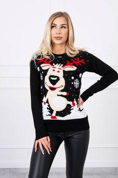 Pulover de Craciun Ren dama cu imprimeu negru #puloverededamacraciun Ren, Christmas Sweaters, Fashion, Elegant, Tricot, Moda, Fashion Styles, Christmas Jumper Dress, Fashion Illustrations