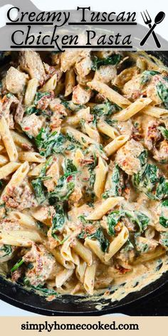 This Creamy Tuscan Chicken Pasta is so deliciously flavored. Garlicky and cheesy, it's easy to make and takes only 30 minutes. Chicken Pasta Crockpot, Grilled Chicken Pasta, Steak Pasta, Chicken Pasta Recipes, Chicken Sausage, Creamy Pasta Recipes, Shrimp Recipes, Pasta Recipes Video, Easy Steak Recipes