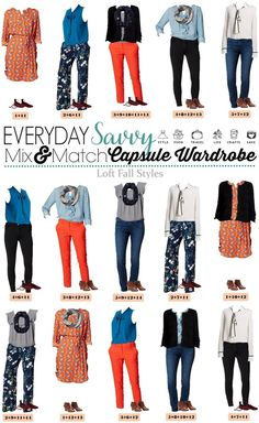 Mix and Match Fall Outfits from the Loft with bright orange, blues and floral. These pieces   mix and match to make 15 fall outfits from Loft. These are great for moms on the go or a business casual office.  via @everydaysavvy