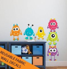 REUSABLE Monsters Wall Decals Set of 6 by DelicateExpressions $45.00  sc 1 st  Pinterest & Colorful Monster Wall Decals Ideas for Modern Kids Room | spaces ...