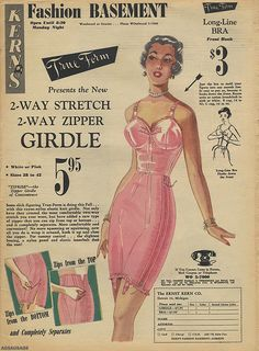 "True-Form Long open girdle ""2-way stretch and 2-way zipper"" and matching logline bra."