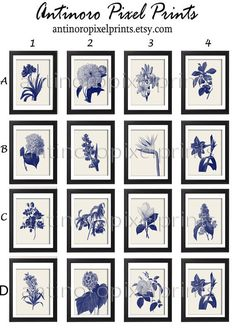 Botanical Prints Navy Creme Floral Damask Wall Modern Wall Art Pictures - Set of Any (9) 8x10 #251049590