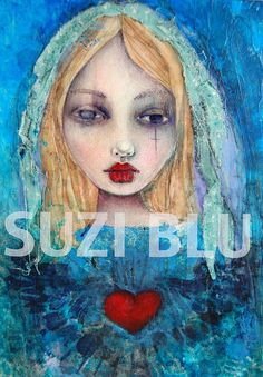 Perfect for a gift!!  The Immaculate Heart of Mary - Print of Original Mixed Media Painting by Suzi Blu.
