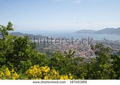 view of la spezia see from a hill - stock photo