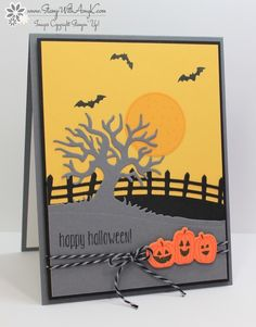 handmade Halloween card: Spooky Fun from Stamp With Amy K ... delightful die cut scene ... trio of pumkins ... tree ... fence ... bats ... Stampin' Up!