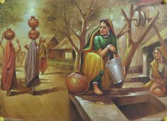 Village Well Scene - People Posters (Reprint on Paper - Unframed) Village Girl, Art Village, Indian Village, Village Photos, Scenery Paintings, Indian Art Paintings, Landscape Paintings, Indian Artwork, Watercolor Paintings