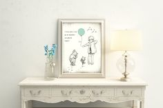 Classic Winnie the Pooh, Pooh Art Print, Pooh Quote, Pooh and Balloon, I Knew When I Met You, Christopher Robin, Piglet, Pooh Shower Gift When I Met You, I Meet You, Art Prints Quotes, Art Quotes, Transparent Balloons, Childrens Wall Art, Christopher Robin, Creative Art, Winnie The Pooh