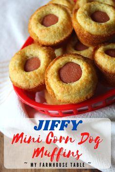 Corn Dog Muffins, Corn Muffin Mix, Mini Muffins, Corn Dog Bites Recipe, Dog Muffin Recipe, Jiffy Corn Dogs, Mini Corn Dogs, Yummy Appetizers, Appetizer Recipes