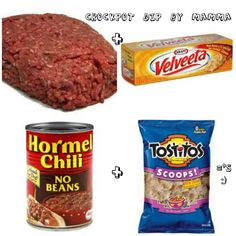 Crockpot Dip!   Ingredients:   1lb or more Velvetta cheese   2lbs Ground Round  (1) 25oz. can, Hormel Chili-No Beans  (1) 15oz can Hormel Chili-No Beans  2 bags of Testito Round Chips or Scoops  Directions: Brown meat.  Cube up Velveeta Cheese, place in microwave. Heat to melt, 1 minute or longer.  Add sparingly.  Add cans of Hormel to ground beef.   Add cheese to the right consistency.     Done!