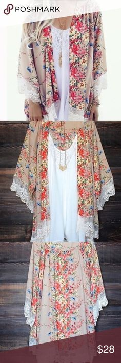 Lace Floral Kimono Gorgeous Floral Kimono with Ivory crocheted Lace around the bottom and the sleeves!!  Variety of Pretty Colors on a Tan Backround. Perfect for Summer Nights or air conditioned areas!! Available in S,M,L let me know what size you would like and I'll make you a seperate listingDiscount on a Bundle Tops Camisoles