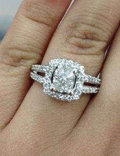 Soon to be engagement ring! :  wedding cushion cut diamond engagement halo ring silver split shank white Ering