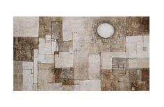 Titolo: Notturno con stelle sparse. Tecnica: cemento bianco, bitume e terre naturali su tavola. cm 100 x 56. Anno: 2012.