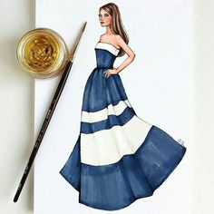 Style of Brush by Gizem Kazancıgil gizem kazancigil Dress Design Sketches, Fashion Design Sketchbook, Fashion Design Drawings, Fashion Sketches, Fashion Drawing Dresses, Fashion Illustration Dresses, Fashion Dresses, Fashion Illustrations, Illustration Mode