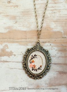 Embroidered Necklace  floral vignette by StitchandGather on Etsy