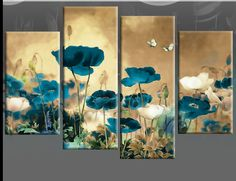 Field Poppies 4 panel canvas art4uk.co.uk