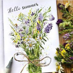 Просто букетик полевых, для вашего настроения 🌼  Жара потихоньку снижает продуктивность, у вас также? . 📷 @violetfox.art 🧑🏼🎨❤️ #творчествовнутри #скетчбук #скетчбукмечты #black13bunny #рисуюкаждыйдень #полевыецветы #рисуюскроликом Hello Summer, Wreaths, Home Decor, Homemade Home Decor, Door Wreaths, Deco Mesh Wreaths, Interior Design, Home Interiors, Floral Arrangements