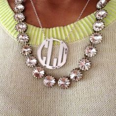 I already have the J.Crew sparkler - could recreate this look with a monogram necklace from the Blue Willow. http://thebluewillow.com #jlbshopsaveshare