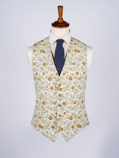 Floral Brocade Waistcoat - The well dressed Georgian gentleman would not step out without a fancy waistcoat. We took inspiration from this era to bring you our new Floral Brocade number in either a subtle gold and silver or a lively blue and red.