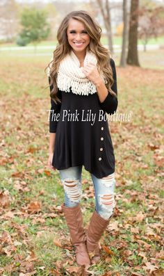 The Pink Lily Boutique - Black Side Button Tunic , $34.00 (http://thepinklilyboutique.com/black-side-button-tunic/)
