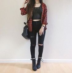 27 Flannel Fall Outfits: Style Tips How to Wear Your Favorite Shirt Grey Lace Up Crop Top, Red Grey and White Plaid Button Up, Distressed Black Denim Jeans, Black Combat Boots, Black Purse Neue Outfits, Edgy Outfits, Grunge Outfits, Cute Casual Outfits, Goth Girl Outfits, Punk Rock Outfits, Hipster Outfits, Summer Fashion Outfits, Cute Summer Outfits