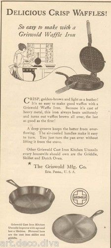 1910s antique GRISWOLD Cast Iron WAFFLE IRON Frying Pan KITCHEN Cooking COOK Ad