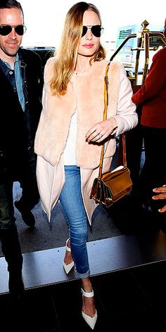 Love Her Outfit! | Kate Bosworth in a to-die-for blush coat with Frame Denim skinnies & white Aldo pumps
