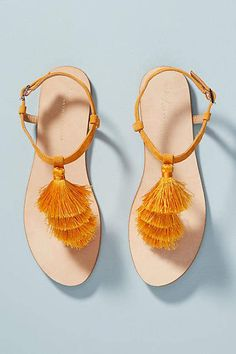 Anthropologie Anora Tasseled Sandals