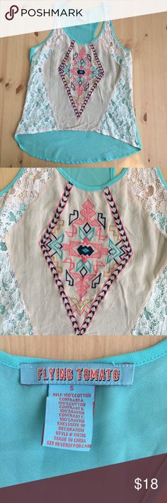 Flying Tomato Sheer Aztec Print Tank Top In excellent condition! Size small. Sheer fabric tank top with Aztec embroidery. I'm a speedy shipper and we have a smoke free home! Measurements upon request. I'm always open to reasonable offers. Flying Tomato Tops Tank Tops