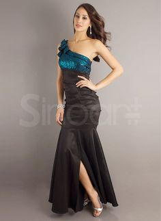 Glorious Mermaid/Trumpet One-shoulder Floor Length Split Matte Satin Evening Dress