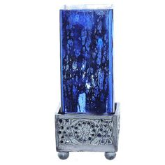 "River of Goods Studio Art Glass Square Uplight Mercury Glass 8.8"" Table Lamp…"