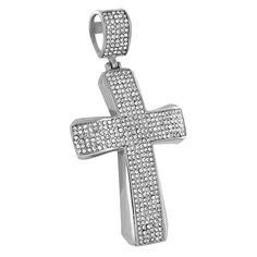 Stainless Steel Cross Pendant Jesus Simulated Diamonds Elegant Pave 3.1 Inch