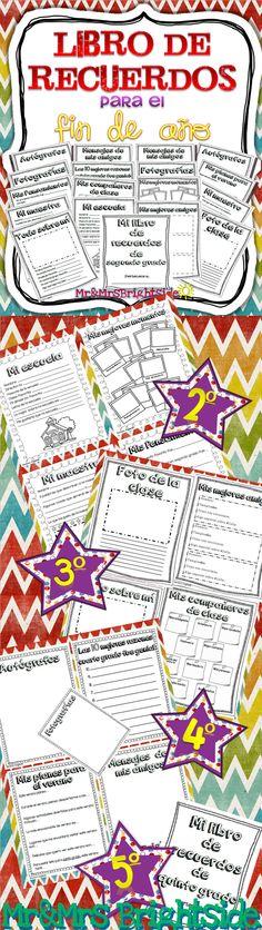 Memory book in Spanish for second grade: Libro de recuerdos September Activities, End Of Year Activities, Teaching Activities, Language Activities, Bilingual Classroom, Bilingual Education, Spanish Classroom, Teaching Spanish, Classroom Ideas