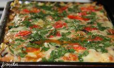 Запеканка из макарон с фаршем и грибами под соусом «Бешамель
