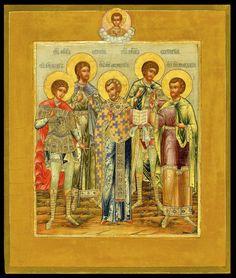 Day Icon for 13 December: St Orest, St Evgeny, St Avksenty, St Evstraty and St Mandary - Morsink Icon Gallery
