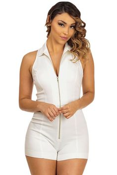 9b44790ece6c White Sleeveless Fitted Shirt Collar Romper MB64054-1 Rompers Women