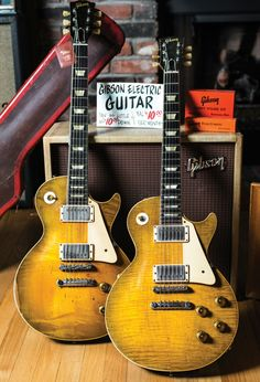 Joe Bonamassa, 1959 Les Paul Standard known as Skinnerburst (right) next to Joe's current favourite squeeze, The Snakebite. Just three serial numbers apart, The Snakebite is 9-1948 and Skinnerburst is 9-1951. Bonamassa also owns serial number 9-1953 aka Carmelita.
