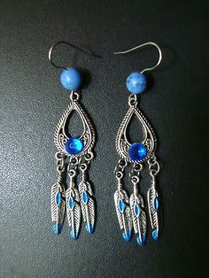Native American crystal blue earrings. $9.99