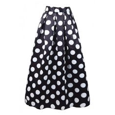 Women's Contrast Polka Dot Print Maxi A-Line Flared Skirt (€27) ❤ liked on Polyvore featuring skirts, a-line skirts, long maxi skirts, skater skirt, maxi skirts and maxi skater skirt
