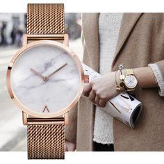fa4b6cbb764 Barato Eutour Genebra Mulher Moda Retro relógio de Quartzo de Aço  Inoxidável Minimalista Mármore Quente Relógios