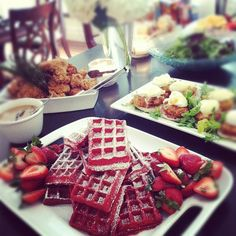 time for brunch! dont those red velvet waffles look GREAT?
