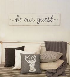 "Be our guest sign - guest room sign - bedroom - rustic wood sign - 47"" x 11.25"" by CherieKaySigns on Etsy https://www.etsy.com/listing/461305278/be-our-guest-sign-guest-room-sign"