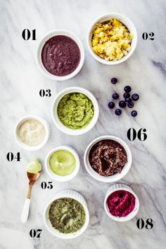 Homemade baby food recipes:  1. Popeye Mix 2. Squash 'n Grains 3. Sweet Pea Hummus 4. White Bean Purée 5. Tropical Avocado Pudding 6. Figgy Pudding 7. Green Machine 8. Just Beet It